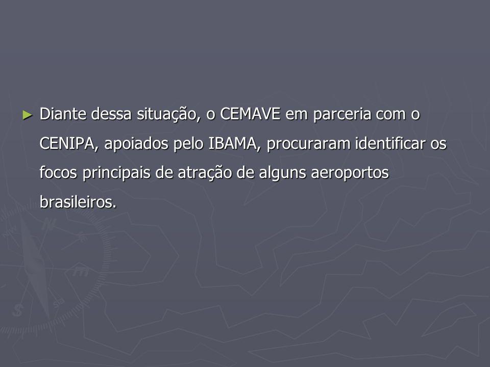 Diante dessa situação, o CEMAVE em parceria com o CENIPA, apoiados pelo IBAMA, procuraram identificar os focos principais de atração de alguns aeropor