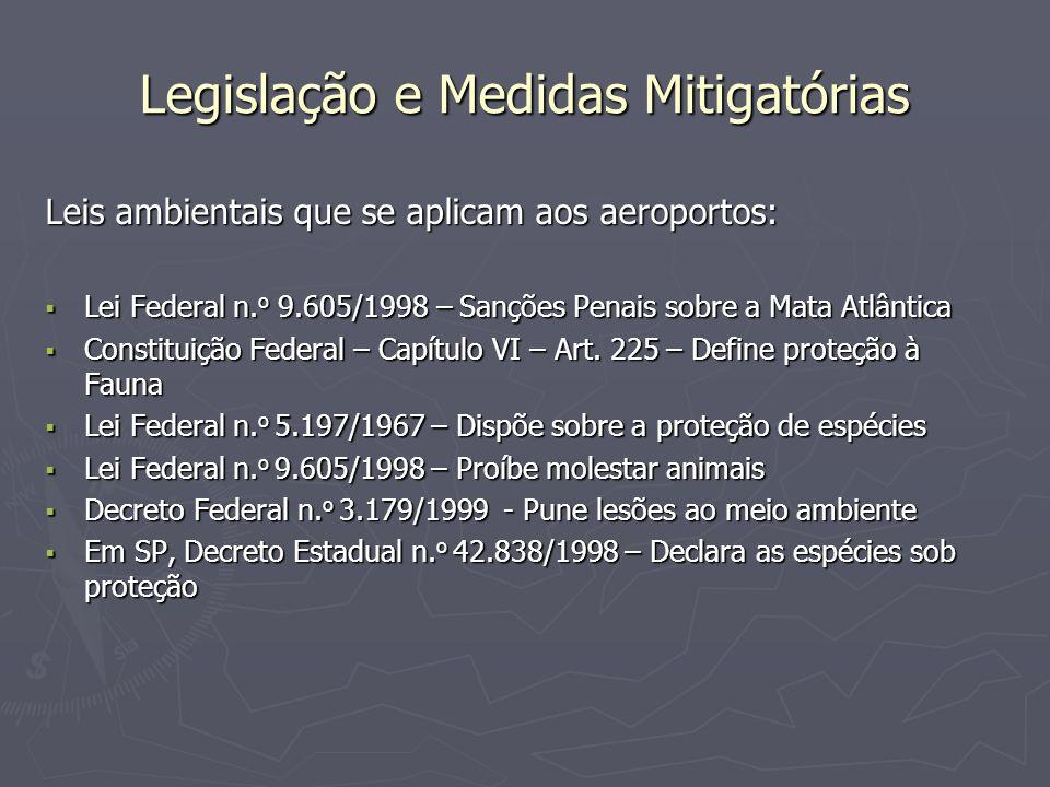Legislação e Medidas Mitigatórias Leis ambientais que se aplicam aos aeroportos: Lei Federal n. o 9.605/1998 – Sanções Penais sobre a Mata Atlântica L