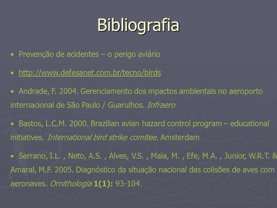 Bibliografia Prevenção de acidentes – o perigo aviário http://www.defesanet.com.br/tecno/birds Andrade, F. 2004. Gerenciamento dos mpactos ambientais