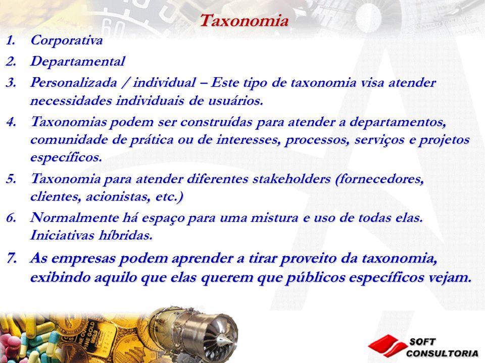 Taxonomia 1.Corporativa 2.Departamental 3.Personalizada / individual – Este tipo de taxonomia visa atender necessidades individuais de usuários.
