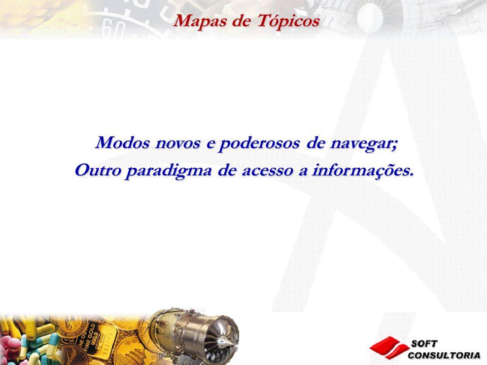 Mapas de Tópicos Mapas de Tópicos Modos novos e poderosos de navegar; Modos novos e poderosos de navegar; Outro paradigma de acesso a informações.