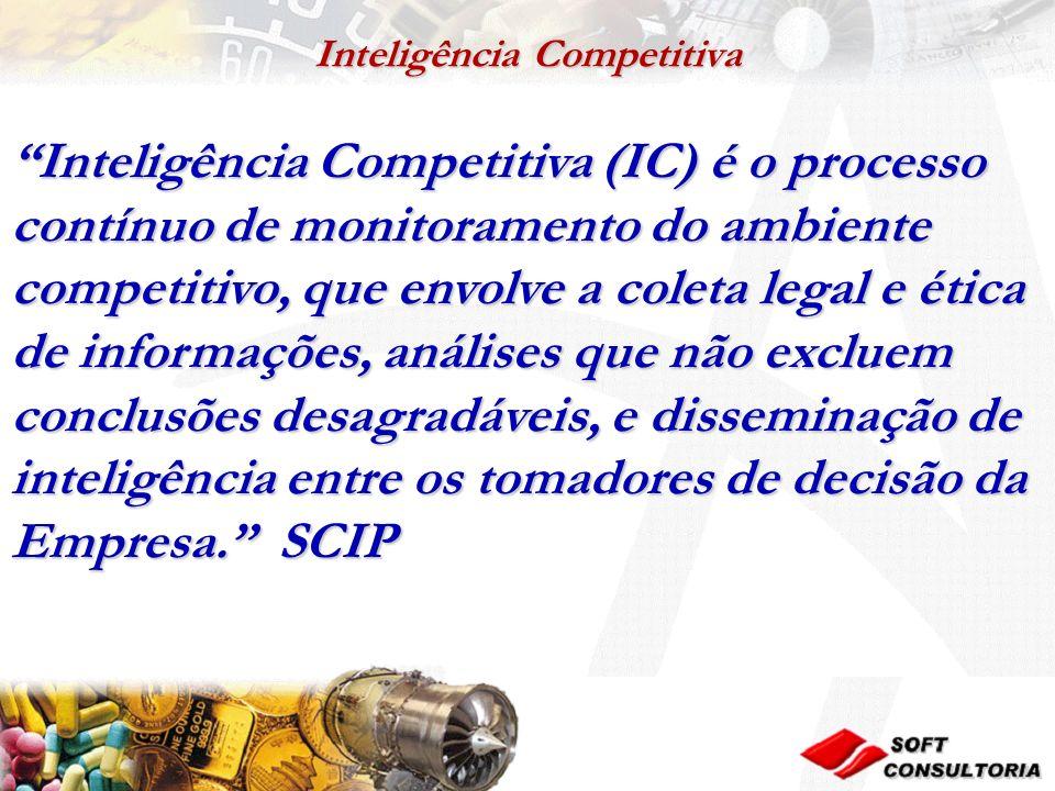 Inteligência Competitiva Inteligência Competitiva (IC) é o processo contínuo de monitoramento do ambiente competitivo, que envolve a coleta legal e ética de informações, análises que não excluem conclusões desagradáveis, e disseminação de inteligência entre os tomadores de decisão da Empresa.