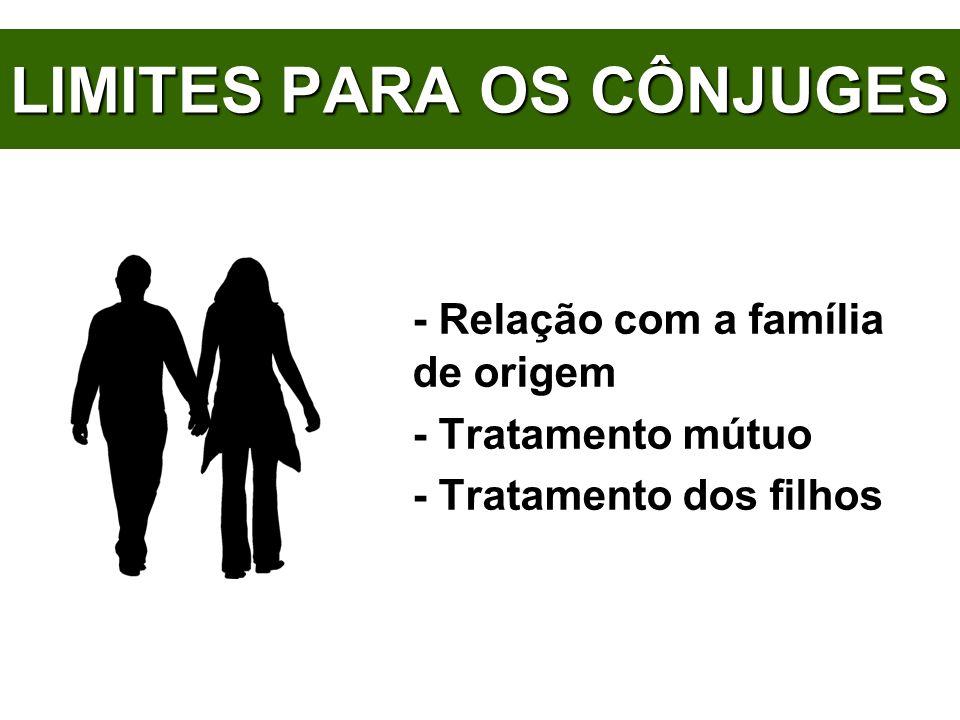 LIMITES PARA OS CÔNJUGES - Relação com a família de origem - Tratamento mútuo - Tratamento dos filhos