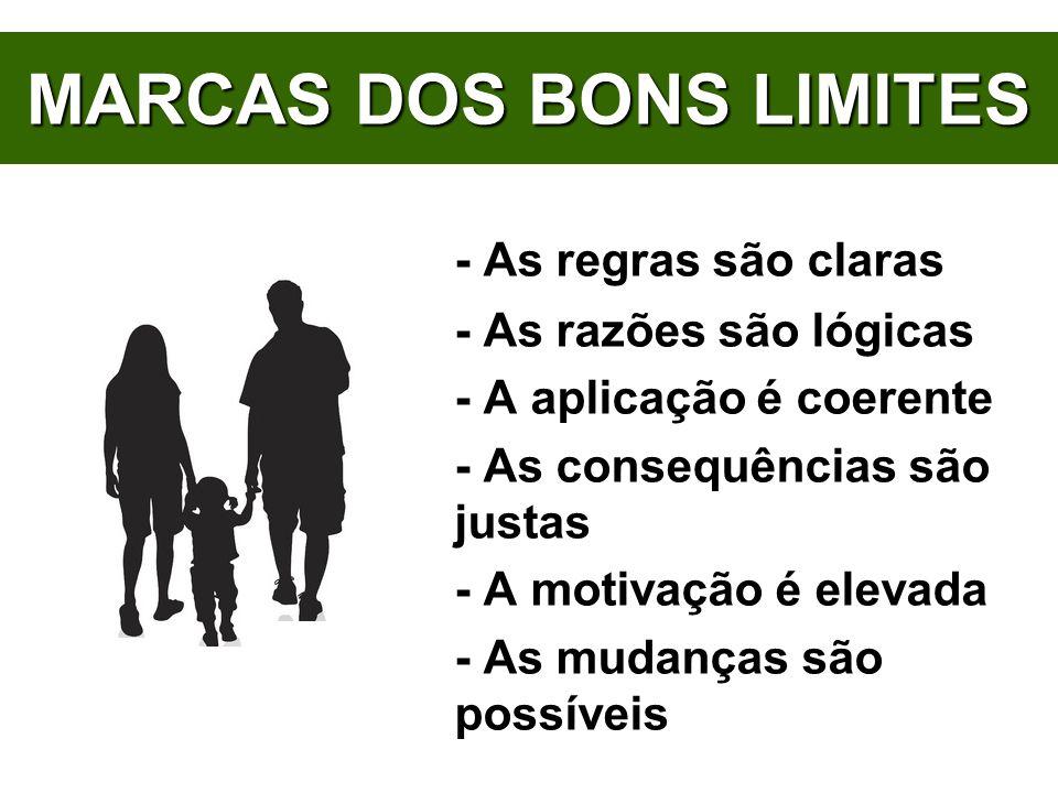 MARCAS DOS BONS LIMITES - As regras são claras - As razões são lógicas - A aplicação é coerente - As consequências são justas - A motivação é elevada