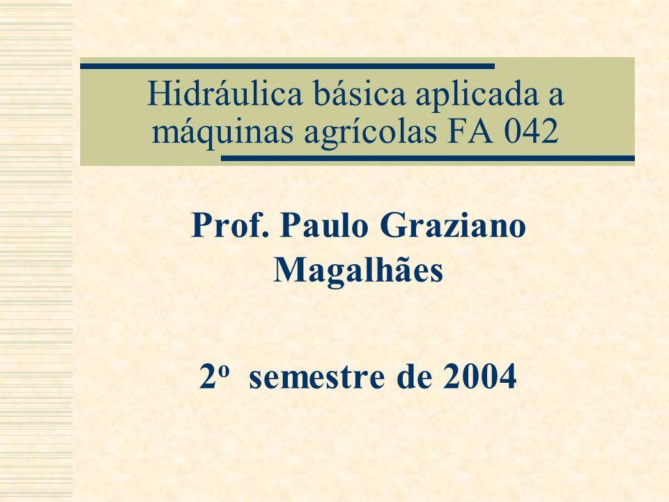 Hidráulica básica aplicada a máquinas agrícolas FA 042 Prof. Paulo Graziano Magalhães 2 o semestre de 2004
