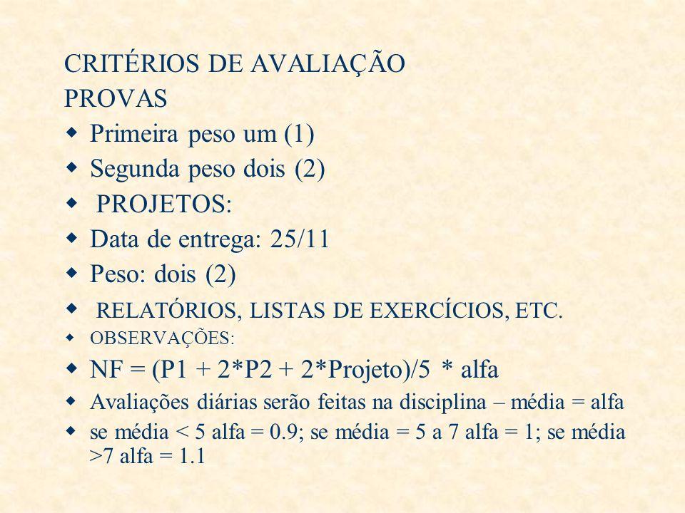 CRITÉRIOS DE AVALIAÇÃO PROVAS Primeira peso um (1) Segunda peso dois (2) PROJETOS: Data de entrega: 25/11 Peso: dois (2) RELATÓRIOS, LISTAS DE EXERCÍC
