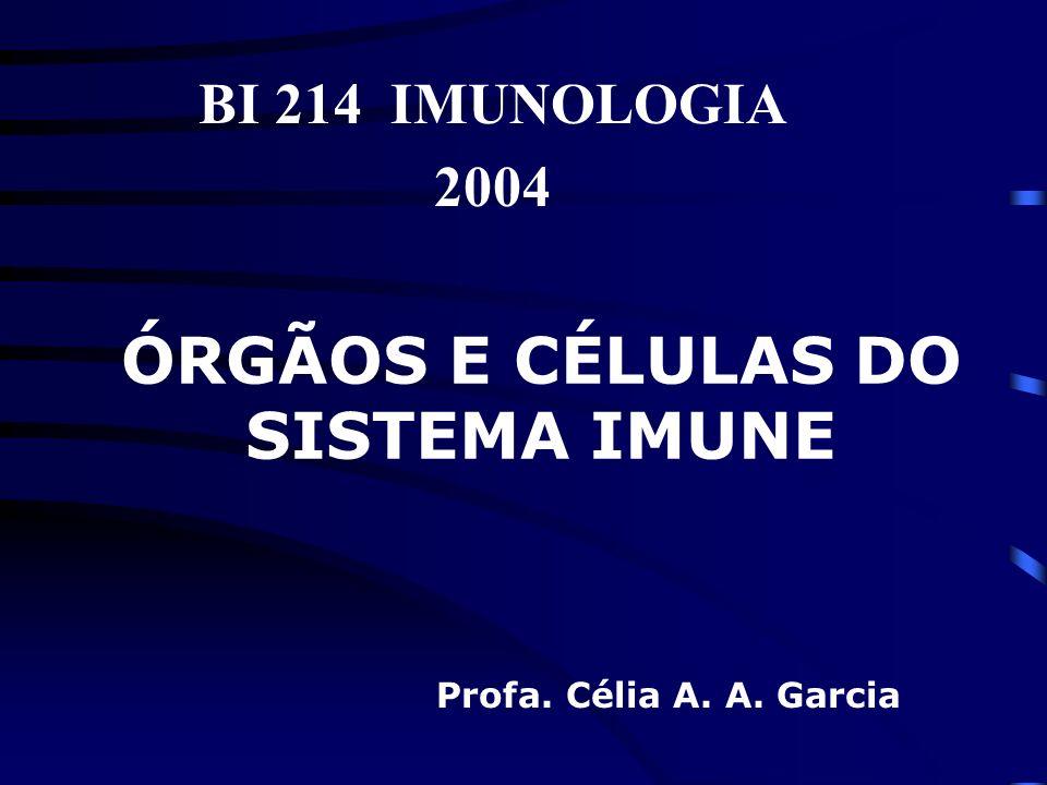 ÓRGÃOS E CÉLULAS DO SISTEMA IMUNE BI 214 IMUNOLOGIA 2004 Profa. Célia A. A. Garcia