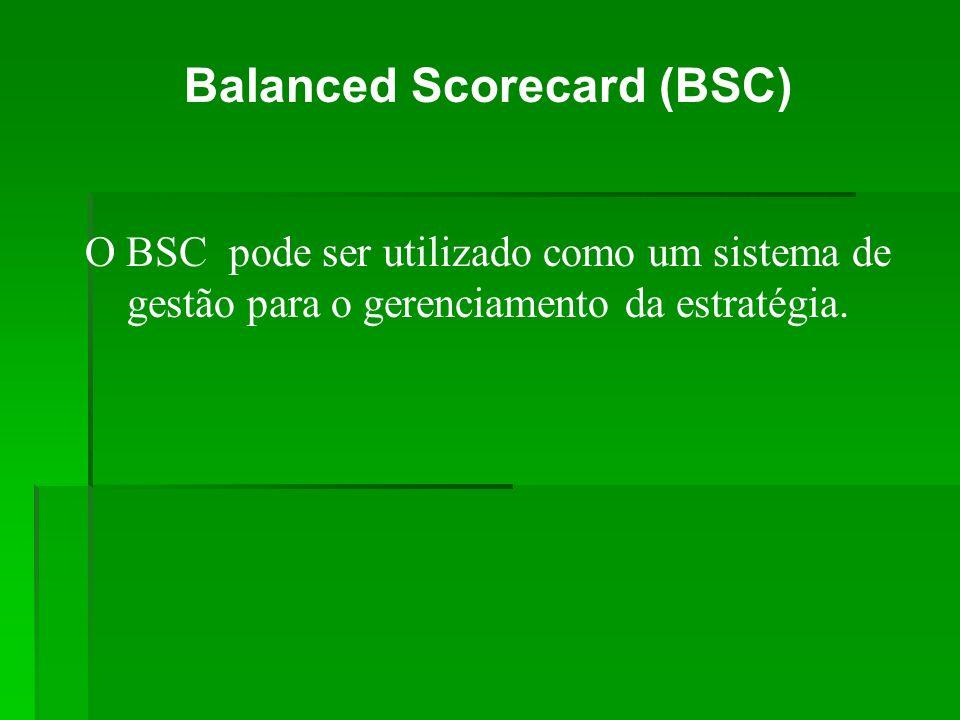 Balanced Scorecard (BSC) O BSC pode ser utilizado como um sistema de gestão para o gerenciamento da estratégia.
