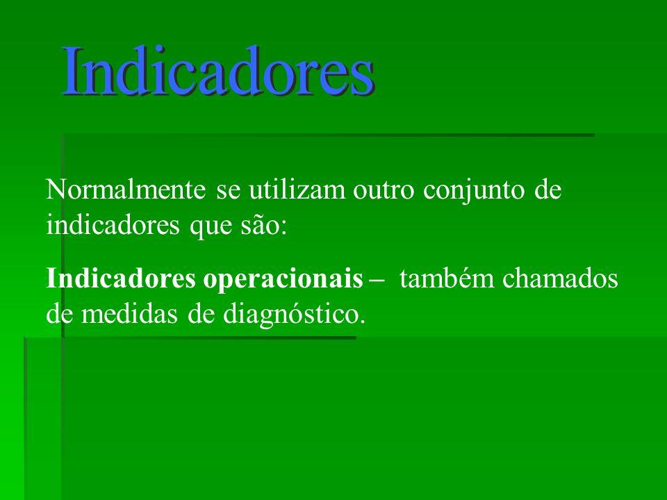 Normalmente se utilizam outro conjunto de indicadores que são: Indicadores operacionais – também chamados de medidas de diagnóstico.