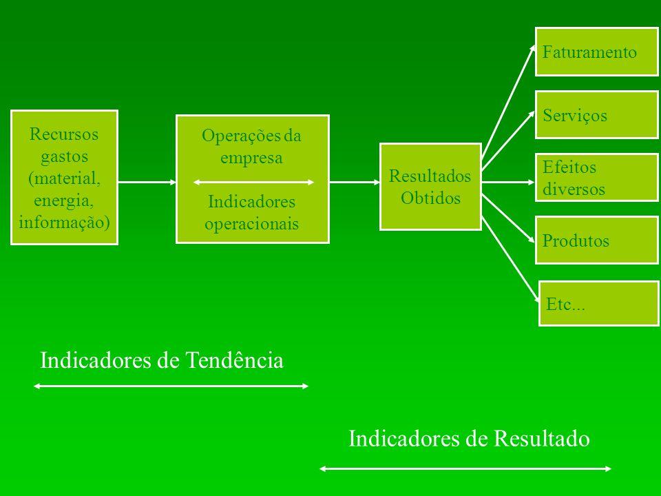 Recursos gastos (material, energia, informação) Operações da empresa Indicadores operacionais Resultados Obtidos Faturamento Serviços Efeitos diversos Produtos Etc...