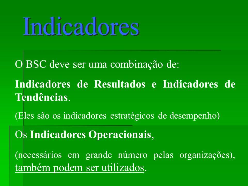 O BSC deve ser uma combinação de: Indicadores de Resultados e Indicadores de Tendências. (Eles são os indicadores estratégicos de desempenho) Os Indic