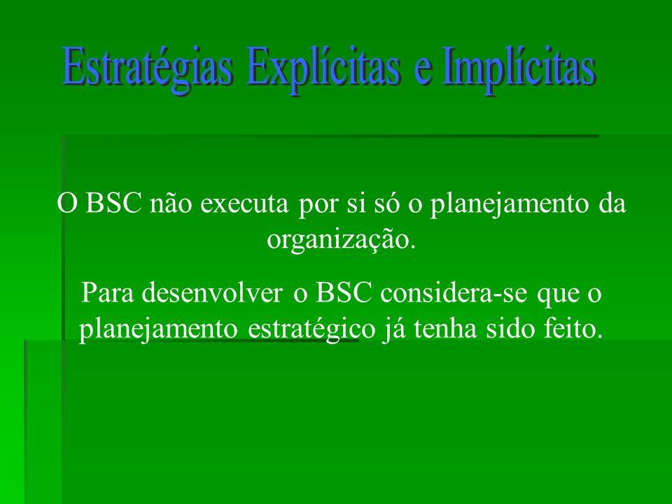 O BSC não executa por si só o planejamento da organização. Para desenvolver o BSC considera-se que o planejamento estratégico já tenha sido feito.