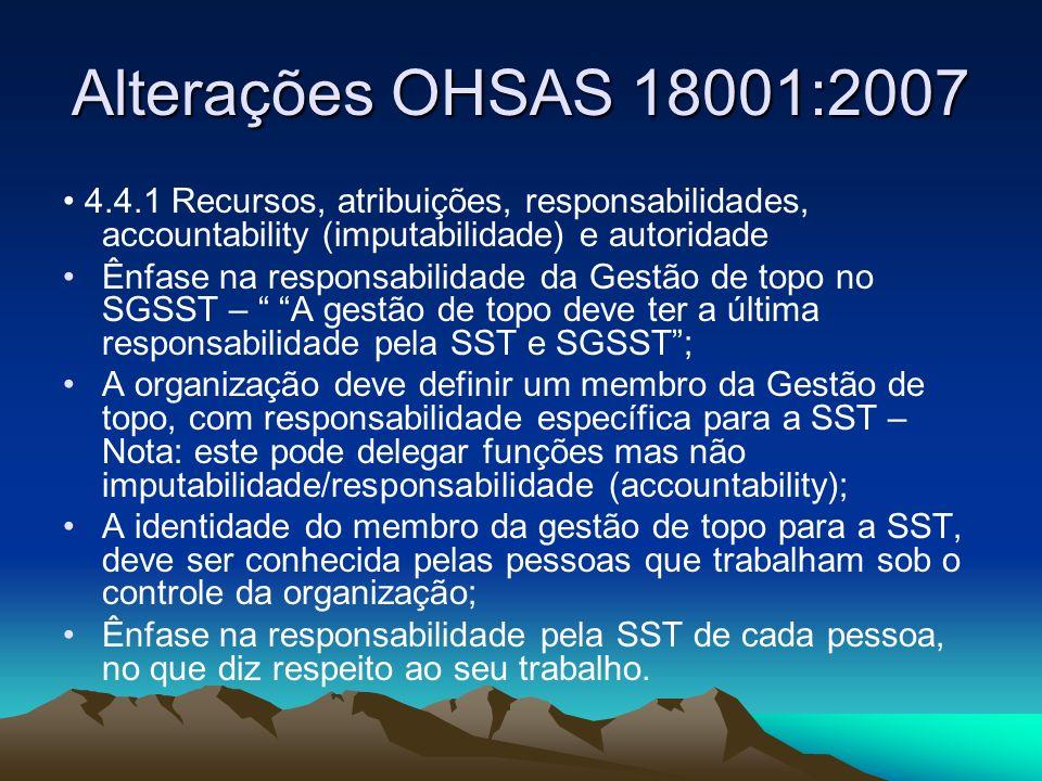 Alterações OHSAS 18001:2007 4.4.1 Recursos, atribuições, responsabilidades, accountability (imputabilidade) e autoridade Ênfase na responsabilidade da