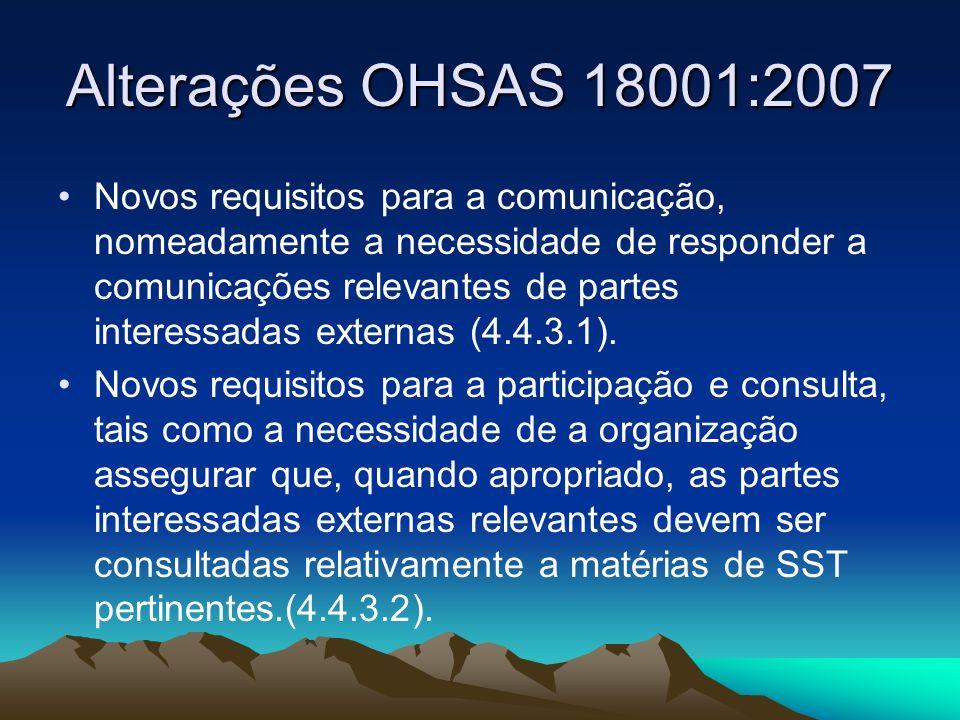 Alterações OHSAS 18001:2007 Novos requisitos para a comunicação, nomeadamente a necessidade de responder a comunicações relevantes de partes interessa