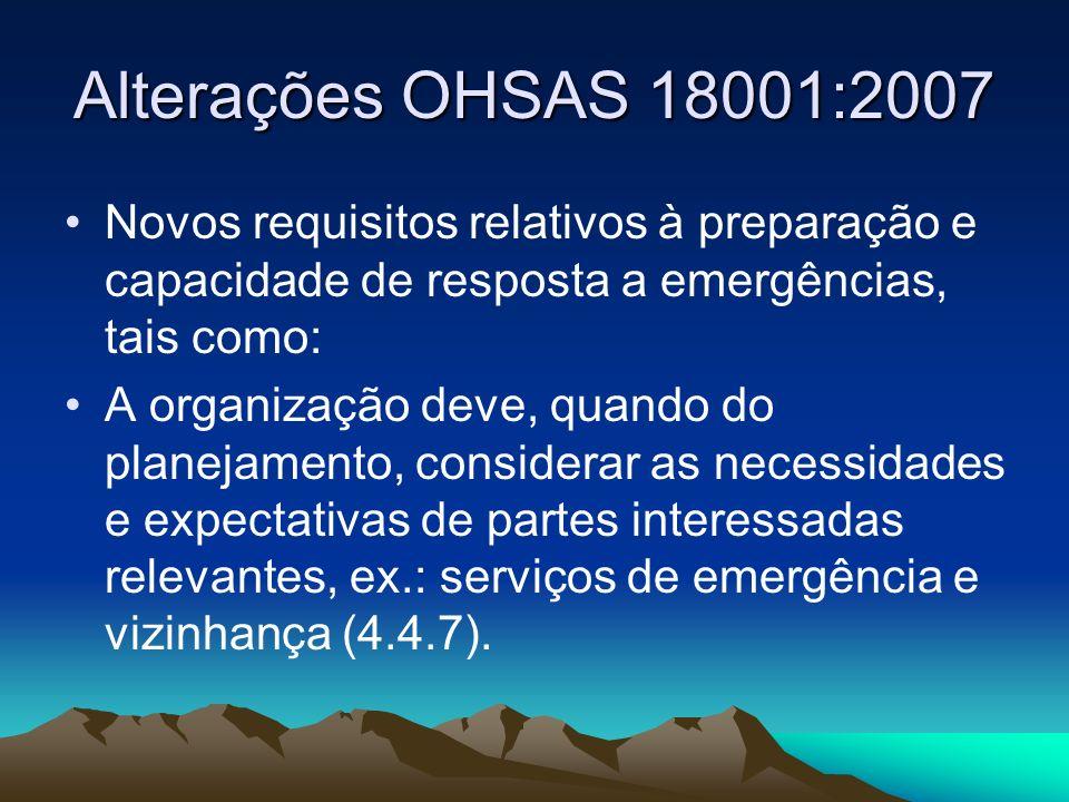 Alterações OHSAS 18001:2007 Novos requisitos relativos à preparação e capacidade de resposta a emergências, tais como: A organização deve, quando do p