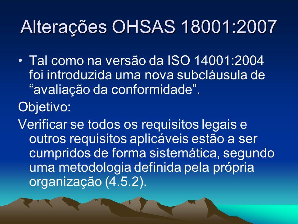 Alterações OHSAS 18001:2007 Tal como na versão da ISO 14001:2004 foi introduzida uma nova subcláusula de avaliação da conformidade. Objetivo: Verifica