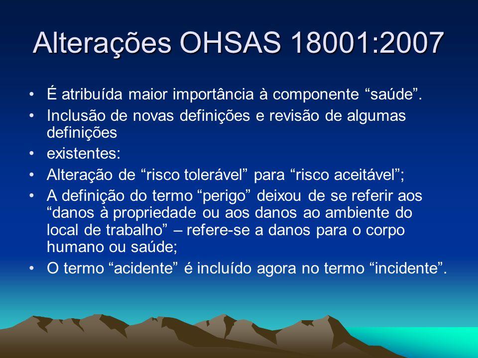 Alterações OHSAS 18001:2007 É atribuída maior importância à componente saúde. Inclusão de novas definições e revisão de algumas definições existentes: