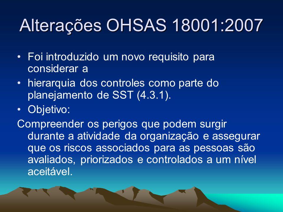 Alterações OHSAS 18001:2007 Novos requisitos relativos à preparação e capacidade de resposta a emergências, tais como: A organização deve, quando do planejamento, considerar as necessidades e expectativas de partes interessadas relevantes, ex.: serviços de emergência e vizinhança (4.4.7).