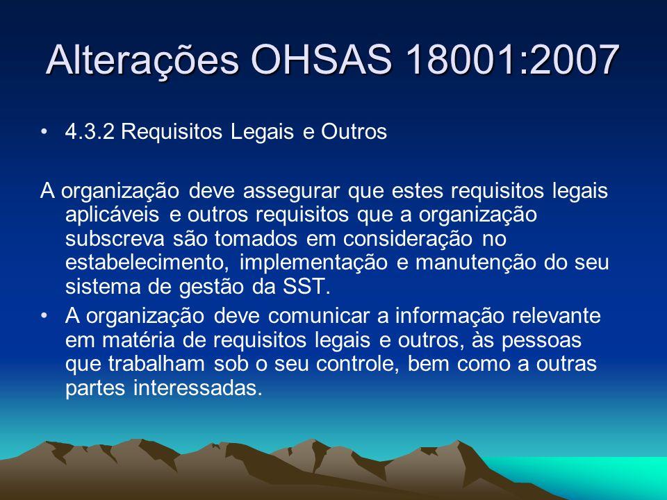 Alterações OHSAS 18001:2007 Tal como na norma ISO 14001:2004, as subcláusulas 4.3.3 e 4.3.4 foram fundidas, existindo agora uma subcláusula única intitulada Objetivos e programa(s) (4.3.3).