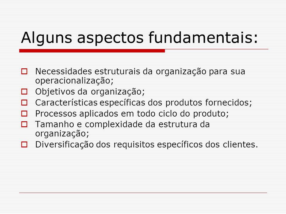 Alguns aspectos fundamentais: Necessidades estruturais da organização para sua operacionalização; Objetivos da organização; Características específica