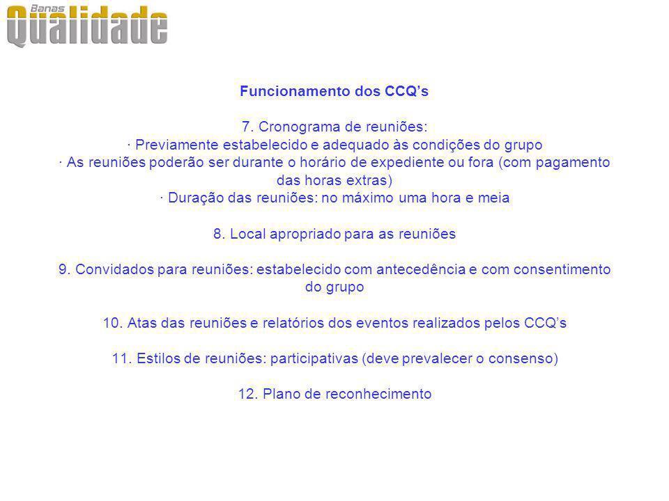 Funcionamento dos CCQs 7. Cronograma de reuniões: · Previamente estabelecido e adequado às condições do grupo · As reuniões poderão ser durante o horá