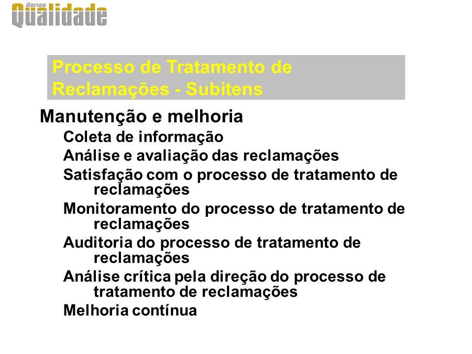 Manutenção e melhoria Coleta de informação Análise e avaliação das reclamações Satisfação com o processo de tratamento de reclamações Monitoramento do
