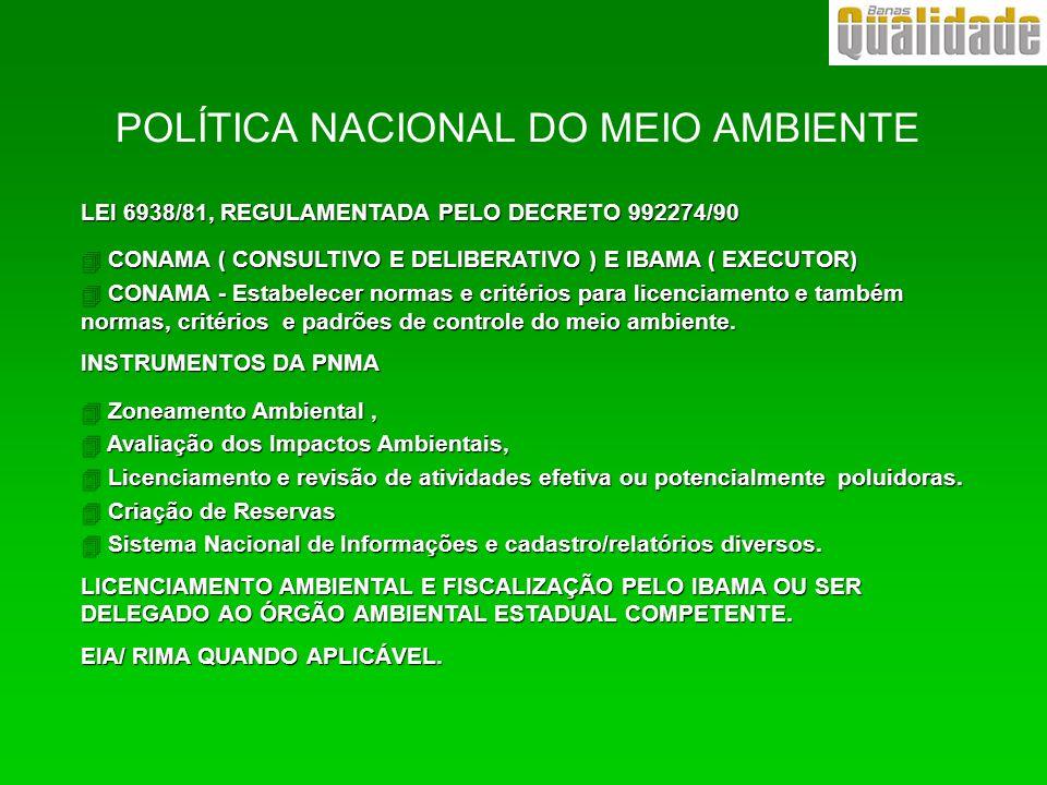 POLÍTICA NACIONAL DO MEIO AMBIENTE LEI 6938/81, REGULAMENTADA PELO DECRETO 992274/90 4 CONAMA ( CONSULTIVO E DELIBERATIVO ) E IBAMA ( EXECUTOR) 4 CONA
