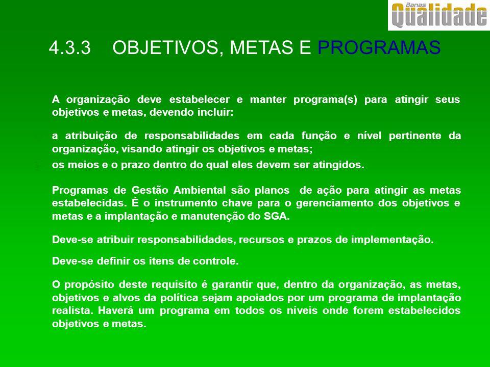 A organização deve estabelecer e manter programa(s) para atingir seus objetivos e metas, devendo incluir: 4a atribuição de responsabilidades em cada f