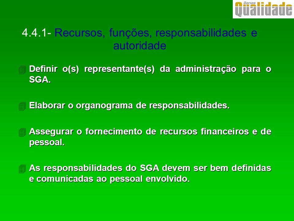 4Definir o(s) representante(s) da administração para o SGA. 4Elaborar o organograma de responsabilidades. 4Assegurar o fornecimento de recursos financ