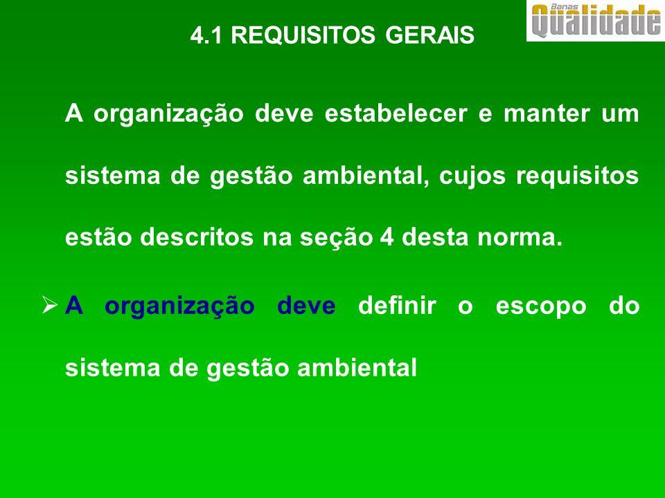 A organização deve estabelecer e manter um sistema de gestão ambiental, cujos requisitos estão descritos na seção 4 desta norma. A organização deve de