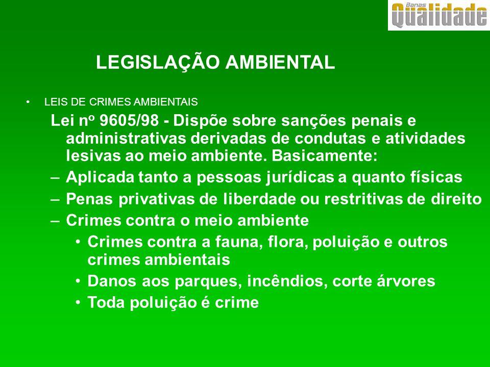 LEIS DE CRIMES AMBIENTAIS Lei n o 9605/98 - Dispõe sobre sanções penais e administrativas derivadas de condutas e atividades lesivas ao meio ambiente.