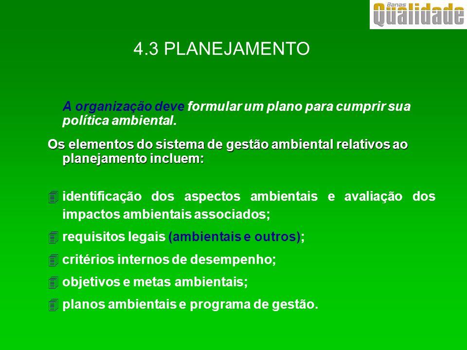 4.3 PLANEJAMENTO A organização deve formular um plano para cumprir sua política ambiental. Os elementos do sistema de gestão ambiental relativos ao pl