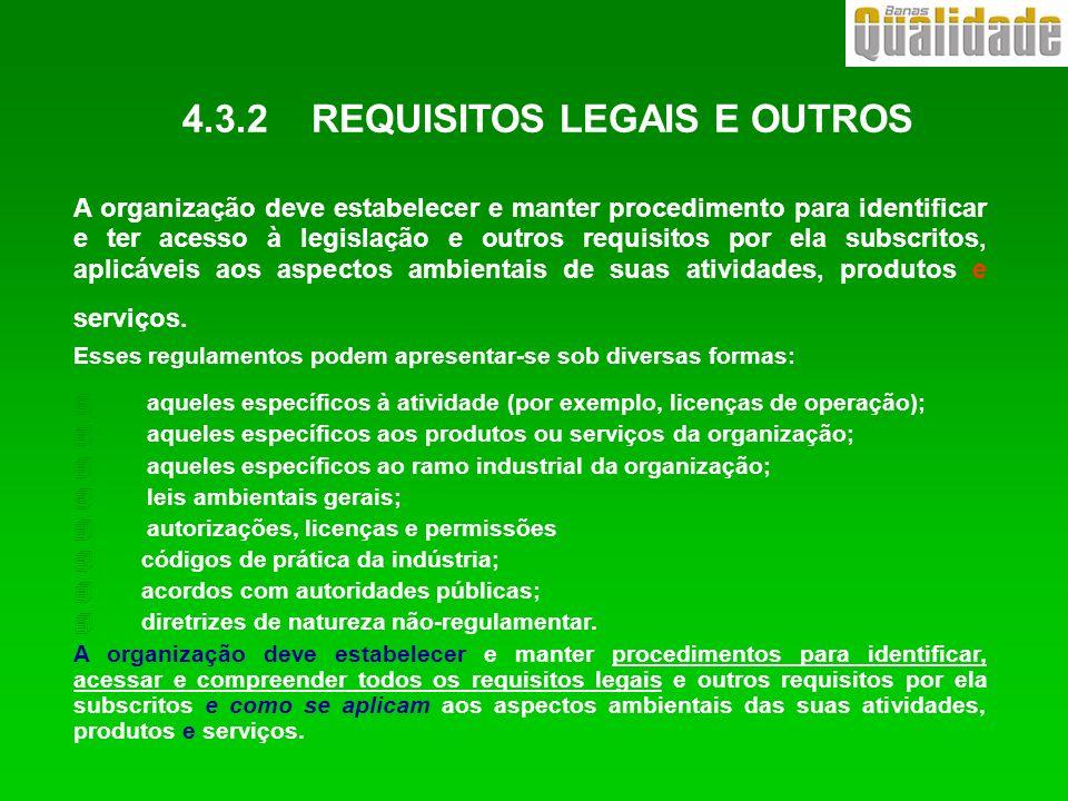 4.3.2 REQUISITOS LEGAIS E OUTROS A organização deve estabelecer e manter procedimento para identificar e ter acesso à legislação e outros requisitos p