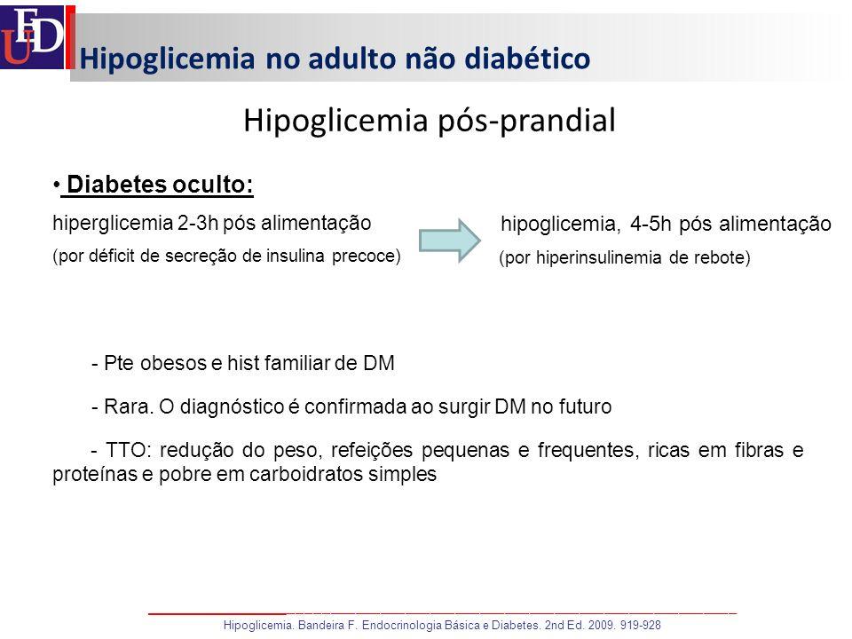 Hipoglicemia no adulto não diabético Hipoglicemia pós-prandial Diabetes oculto: hiperglicemia 2-3h pós alimentação (por déficit de secreção de insulin