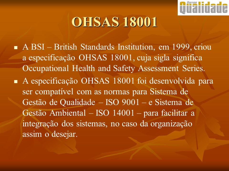 OHSAS 18001 A BSI – British Standards Institution, em 1999, criou a especificação OHSAS 18001, cuja sigla significa Occupational Health and Safety Ass