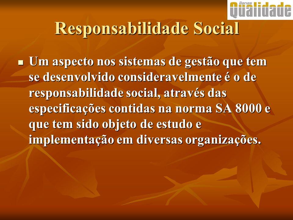 Responsabilidade Social Um aspecto nos sistemas de gestão que tem se desenvolvido consideravelmente é o de responsabilidade social, através das especi