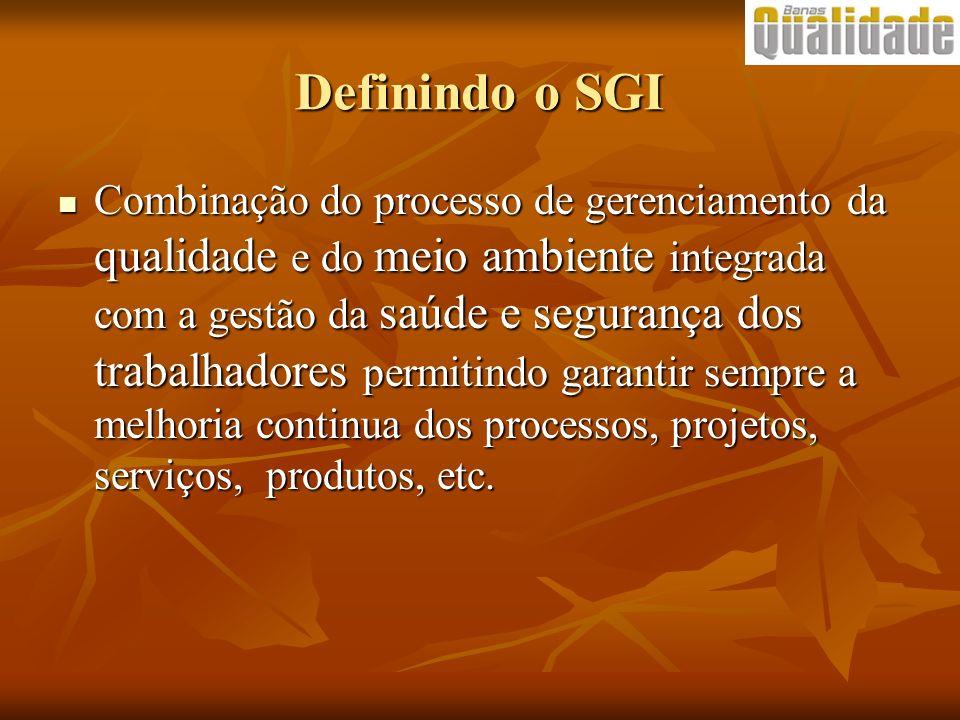 Definindo o SGI Combinação do processo de gerenciamento da qualidade e do meio ambiente integrada com a gestão da saúde e segurança dos trabalhadores