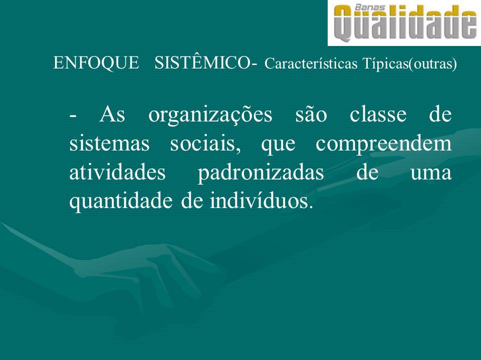 ENFOQUE SISTÊMICO- Características Típicas(outras) - As organizações são classe de sistemas sociais, que compreendem atividades padronizadas de uma qu