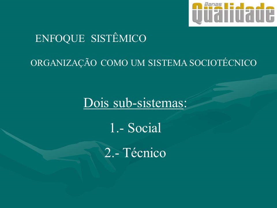 ENFOQUE SISTÊMICO ORGANIZAÇÃO COMO UM SISTEMA SOCIOTÉCNICO Dois sub-sistemas: 1.- Social 2.- Técnico