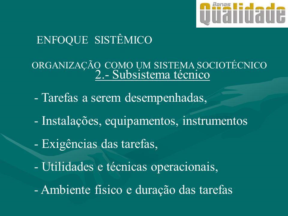ORGANIZAÇÃO COMO UM SISTEMA SOCIOTÉCNICO ENFOQUE SISTÊMICO 2.- Subsistema técnico - Tarefas a serem desempenhadas, - Instalações, equipamentos, instru