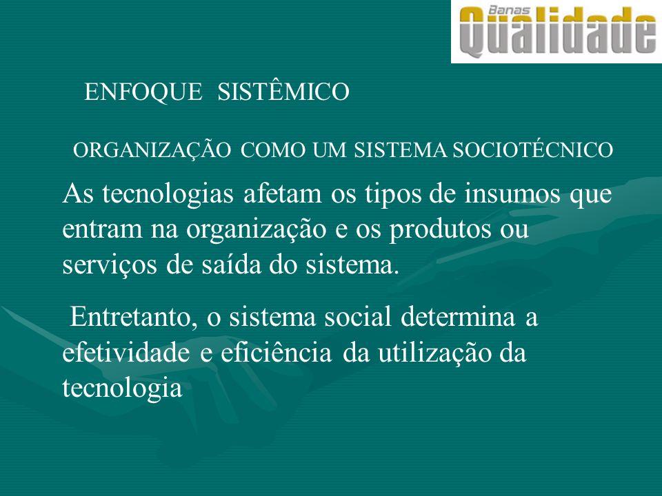 As tecnologias afetam os tipos de insumos que entram na organização e os produtos ou serviços de saída do sistema. Entretanto, o sistema social determ