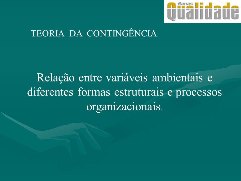 TEORIA DA CONTINGÊNCIA Relação entre variáveis ambientais e diferentes formas estruturais e processos organizacionais.