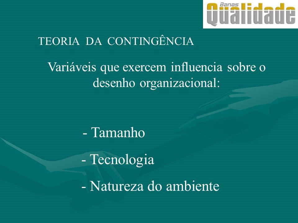 TEORIA DA CONTINGÊNCIA Variáveis que exercem influencia sobre o desenho organizacional: - Tamanho - Tecnologia - Natureza do ambiente