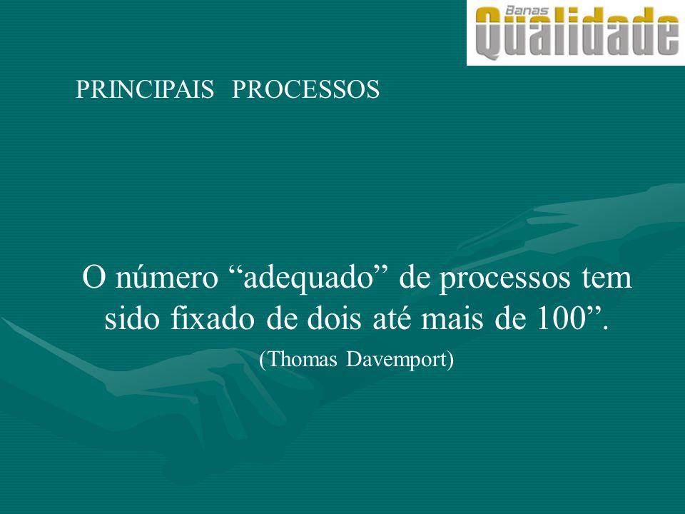PRINCIPAIS PROCESSOS O número adequado de processos tem sido fixado de dois até mais de 100. (Thomas Davemport)