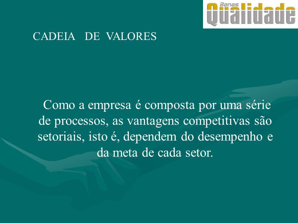 CADEIA DE VALORES Como a empresa é composta por uma série de processos, as vantagens competitivas são setoriais, isto é, dependem do desempenho e da m