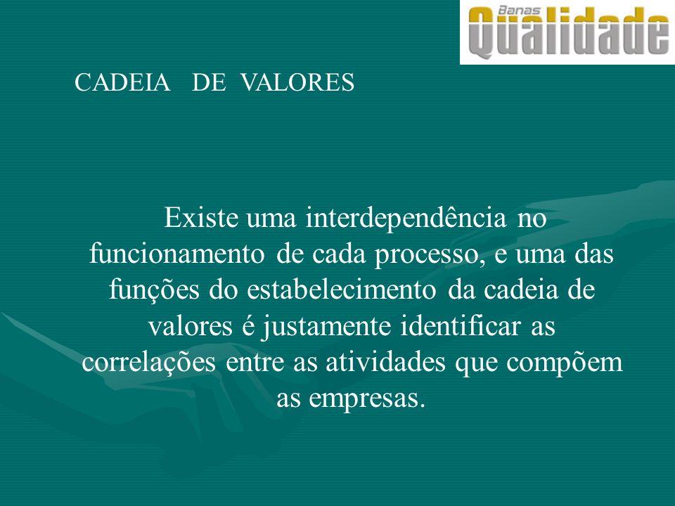 CADEIA DE VALORES Existe uma interdependência no funcionamento de cada processo, e uma das funções do estabelecimento da cadeia de valores é justament