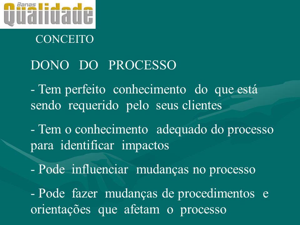 CONCEITO DONO DO PROCESSO - Tem perfeito conhecimento do que está sendo requerido pelo seus clientes - Tem o conhecimento adequado do processo para id