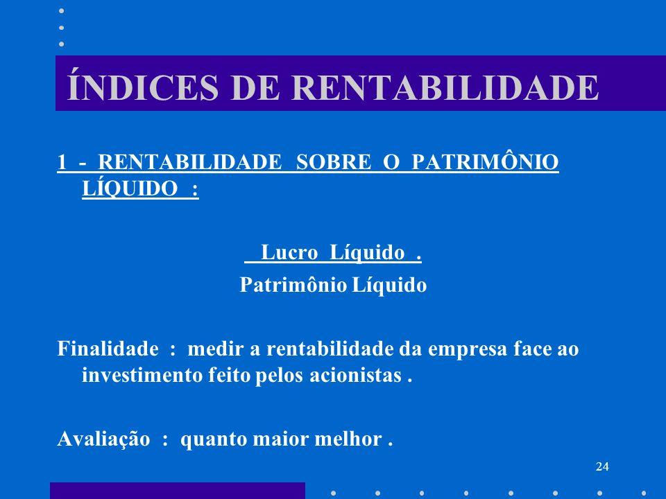 24 ÍNDICES DE RENTABILIDADE 1 - RENTABILIDADE SOBRE O PATRIMÔNIO LÍQUIDO : Lucro Líquido. Patrimônio Líquido Finalidade : medir a rentabilidade da emp