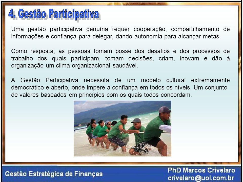 Uma gestão participativa genuína requer cooperação, compartilhamento de informações e confiança para delegar, dando autonomia para alcançar metas.