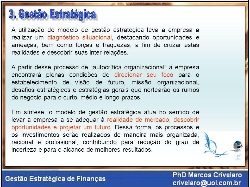A utilização do modelo de gestão estratégica leva a empresa a realizar um diagnóstico situacional, destacando oportunidades e ameaças, bem como forças